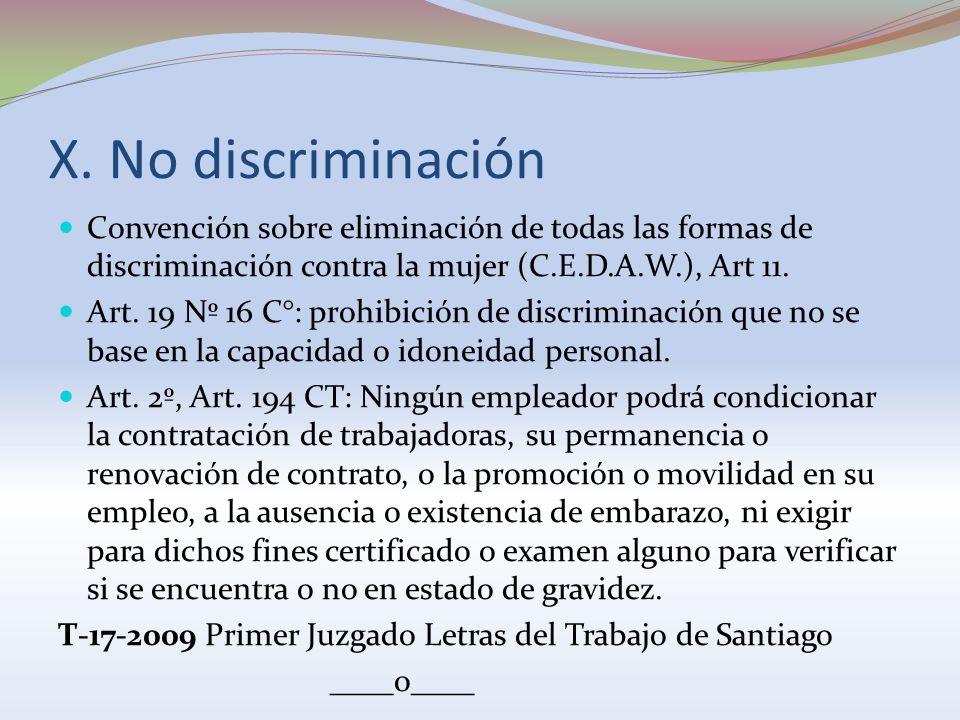 X. No discriminación Convención sobre eliminación de todas las formas de discriminación contra la mujer (C.E.D.A.W.), Art 11. Art. 19 Nº 16 C°: prohib