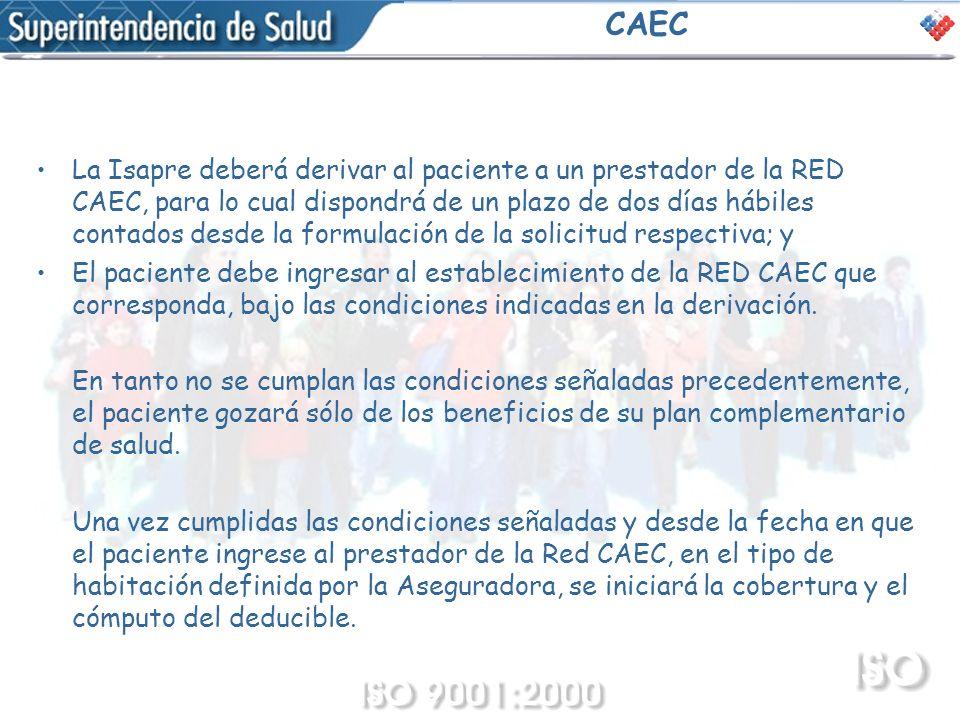 CAEC La Isapre deberá derivar al paciente a un prestador de la RED CAEC, para lo cual dispondrá de un plazo de dos días hábiles contados desde la form