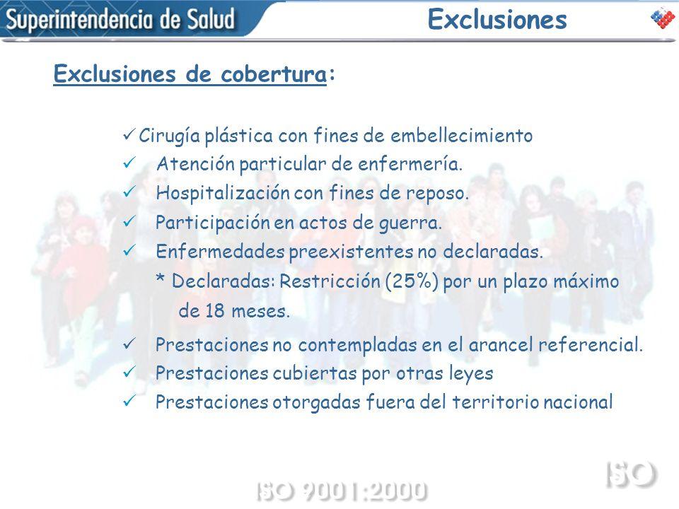 Exclusiones Exclusiones de cobertura: Cirugía plástica con fines de embellecimiento Atención particular de enfermería. Hospitalización con fines de re