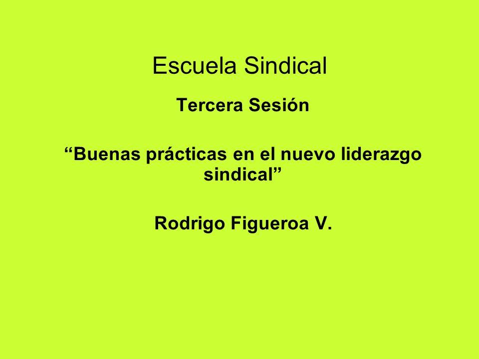 Escuela Sindical Tercera Sesión Buenas prácticas en el nuevo liderazgo sindical Rodrigo Figueroa V.