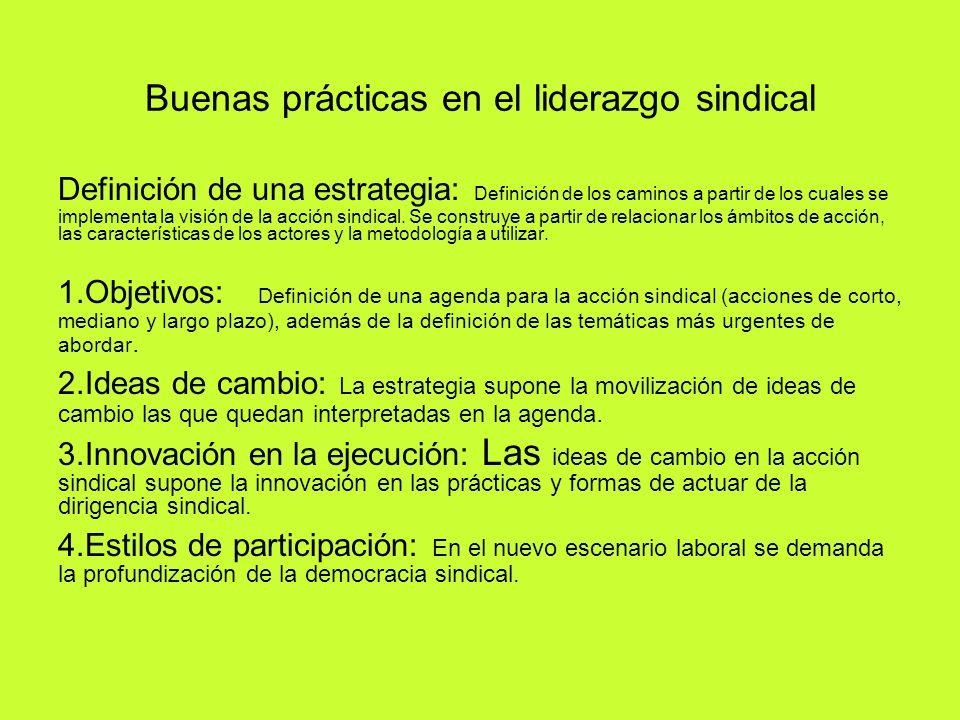 Buenas prácticas en el liderazgo sindical Definición de una estrategia: Definición de los caminos a partir de los cuales se implementa la visión de la