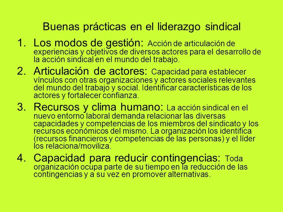 Buenas prácticas en el liderazgo sindical 1.Los modos de gestión: Acción de articulación de experiencias y objetivos de diversos actores para el desar