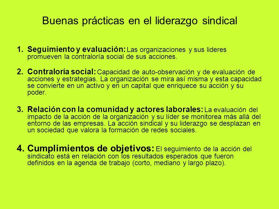 Buenas prácticas en el liderazgo sindical 1.Seguimiento y evaluación: Las organizaciones y sus lideres promueven la contraloría social de sus acciones