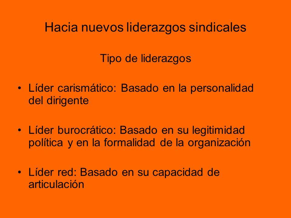 Hacia nuevos liderazgos sindicales Tipo de liderazgos Líder carismático: Basado en la personalidad del dirigente Líder burocrático: Basado en su legit