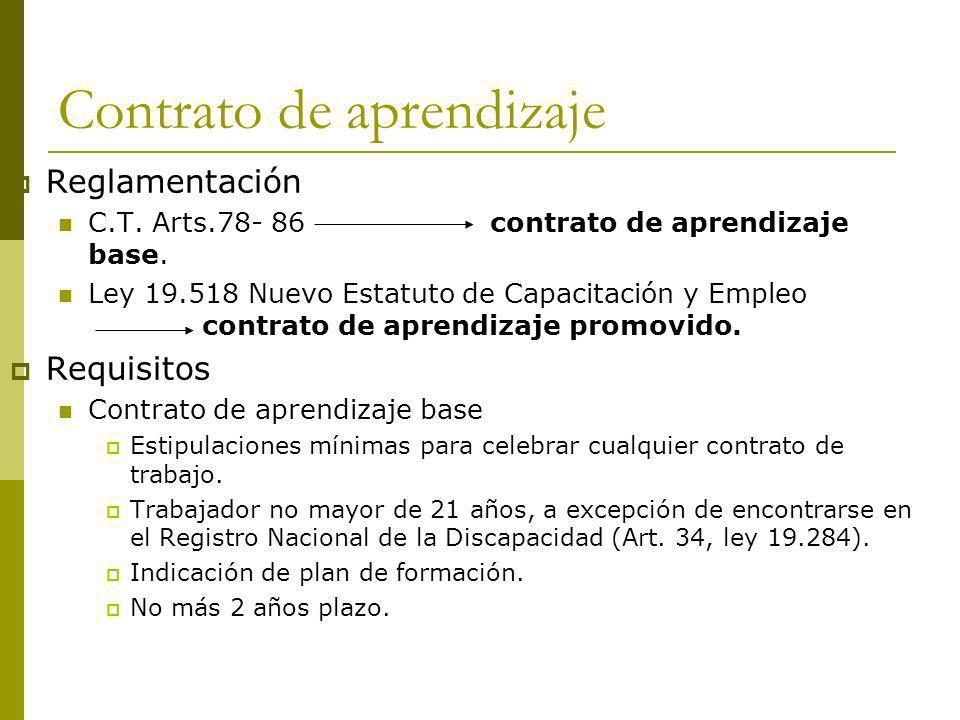 Contrato de aprendizaje Reglamentación C.T. Arts.78- 86contrato de aprendizaje base. Ley 19.518 Nuevo Estatuto de Capacitación y Empleo contrato de ap