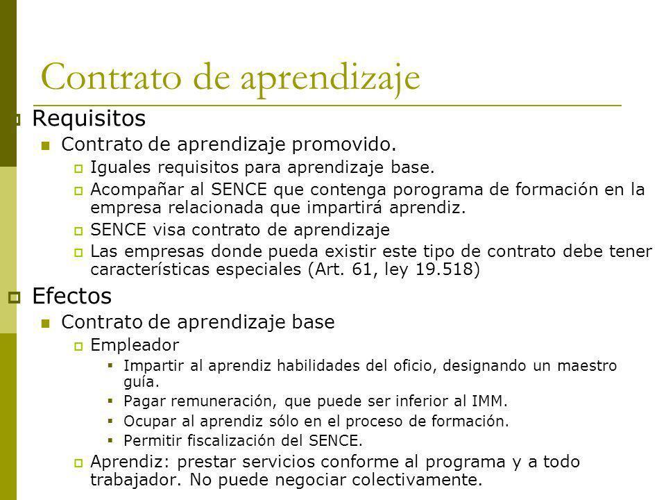 Contrato de aprendizaje Requisitos Contrato de aprendizaje promovido. Iguales requisitos para aprendizaje base. Acompañar al SENCE que contenga porogr