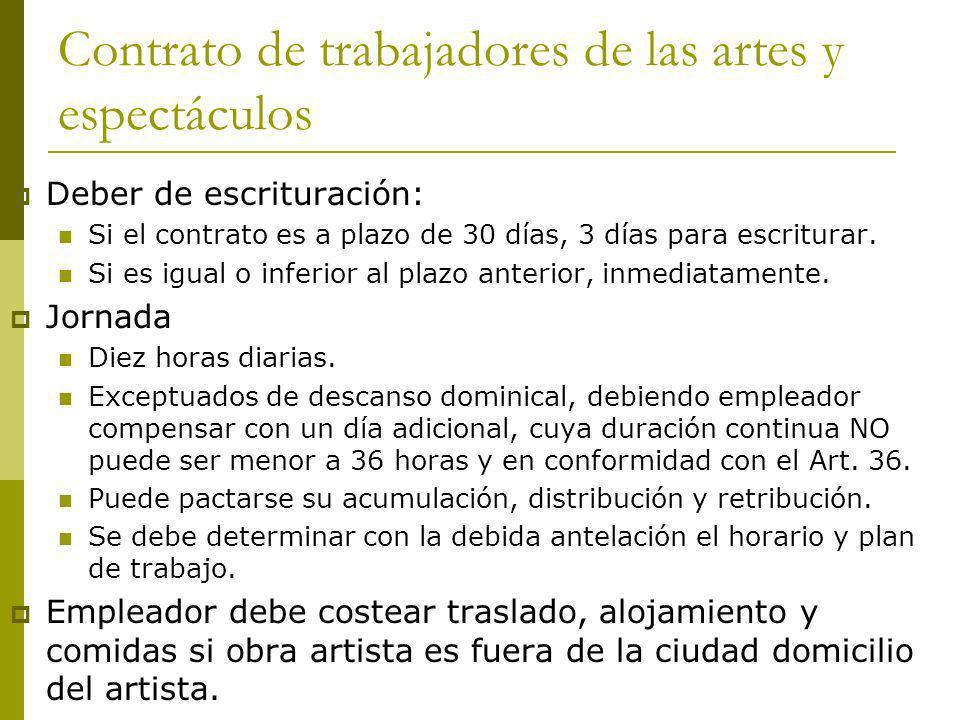 Contrato de trabajadores de las artes y espectáculos Deber de escrituración: Si el contrato es a plazo de 30 días, 3 días para escriturar. Si es igual