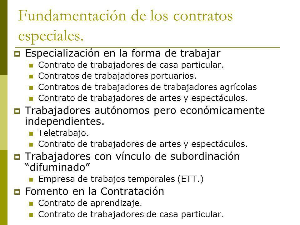 Fundamentación de los contratos especiales. Especialización en la forma de trabajar Contrato de trabajadores de casa particular. Contratos de trabajad