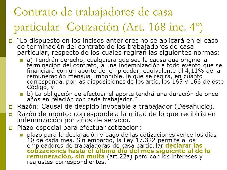 Contrato de trabajadores de casa particular- Cotización (Art. 168 inc. 4º) Lo dispuesto en los incisos anteriores no se aplicará en el caso de termina