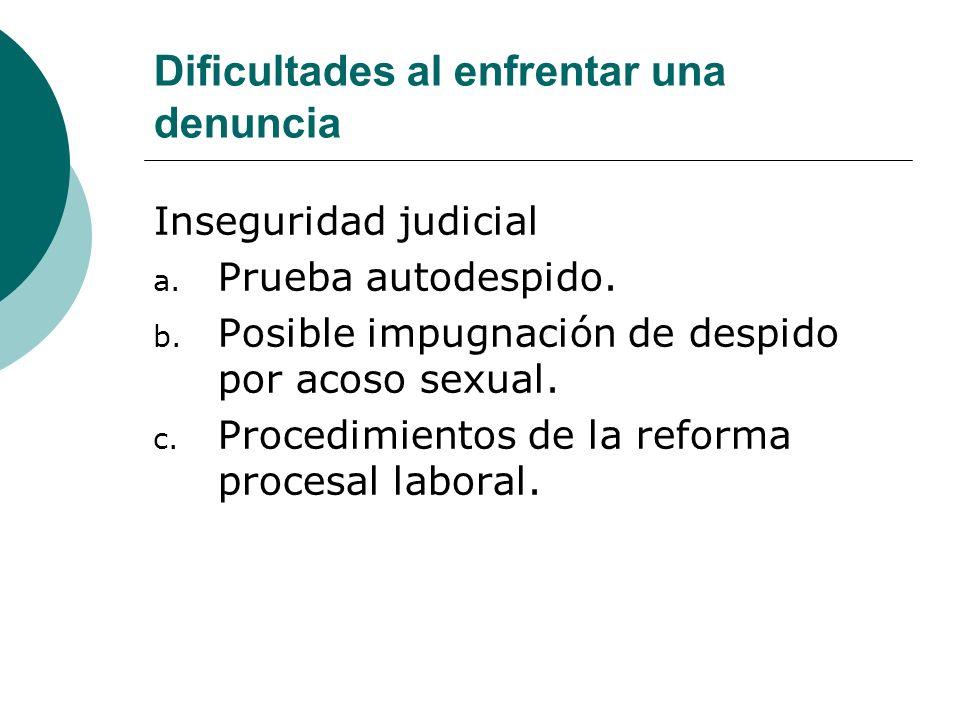 Dificultades al enfrentar una denuncia Inseguridad judicial a. Prueba autodespido. b. Posible impugnación de despido por acoso sexual. c. Procedimient