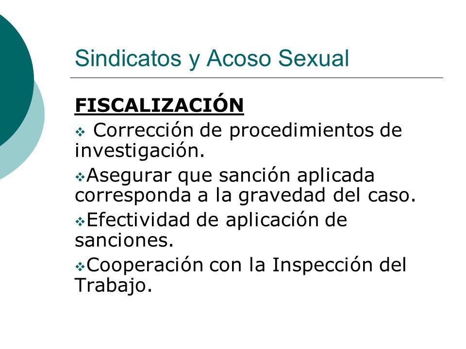 Sindicatos y Acoso Sexual FISCALIZACIÓN Corrección de procedimientos de investigación. Asegurar que sanción aplicada corresponda a la gravedad del cas