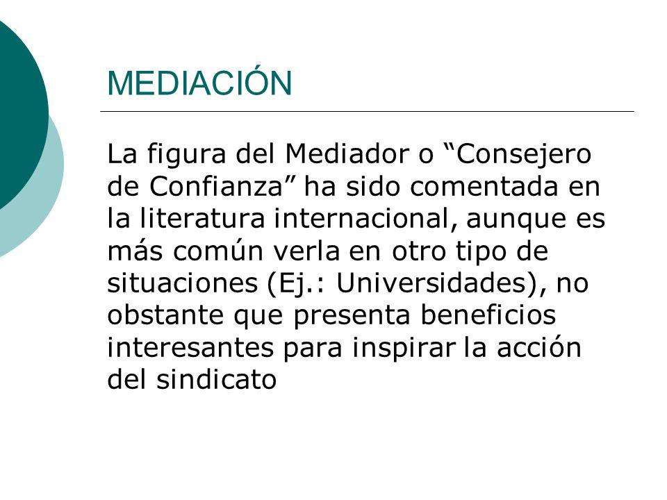 La figura del Mediador o Consejero de Confianza ha sido comentada en la literatura internacional, aunque es más común verla en otro tipo de situacione