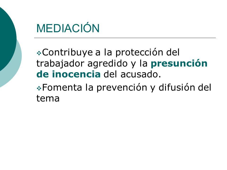MEDIACIÓN Contribuye a la protección del trabajador agredido y la presunción de inocencia del acusado. Fomenta la prevención y difusión del tema