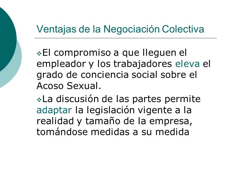 Ventajas de la Negociación Colectiva El compromiso a que lleguen el empleador y los trabajadores eleva el grado de conciencia social sobre el Acoso Se