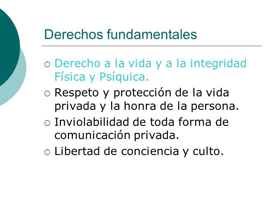 Derechos fundamentales Derecho a la vida y a la integridad Física y Psíquica. Respeto y protección de la vida privada y la honra de la persona. Inviol