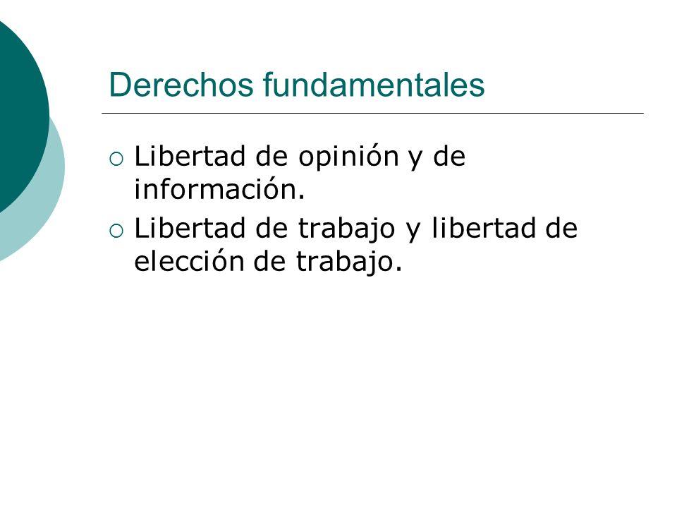 Derechos fundamentales Libertad de opinión y de información. Libertad de trabajo y libertad de elección de trabajo.
