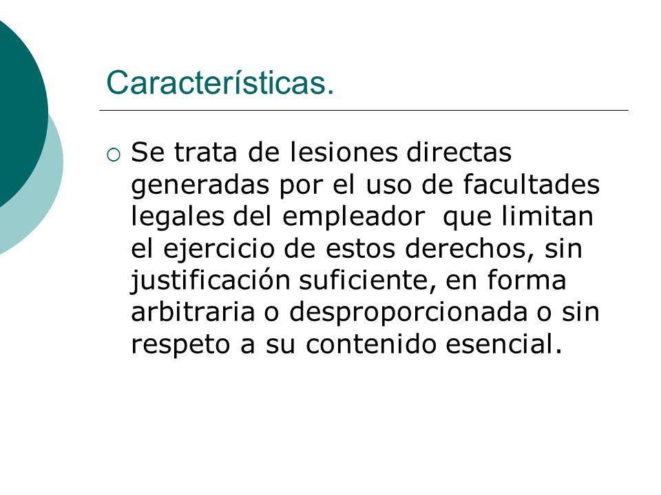 Características. Se trata de lesiones directas generadas por el uso de facultades legales del empleador que limitan el ejercicio de estos derechos, si