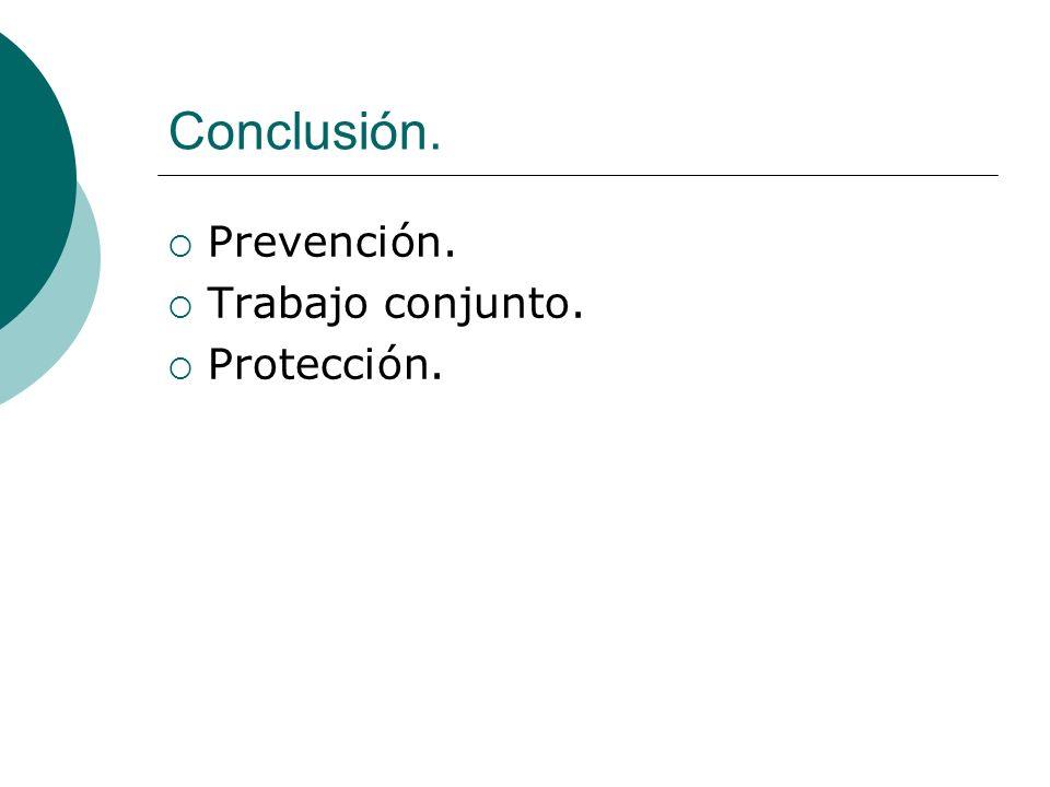 Conclusión. Prevención. Trabajo conjunto. Protección.