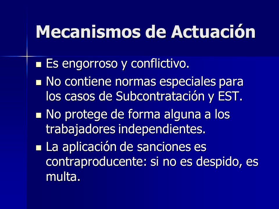 Mecanismos de Actuación Es engorroso y conflictivo. Es engorroso y conflictivo. No contiene normas especiales para los casos de Subcontratación y EST.