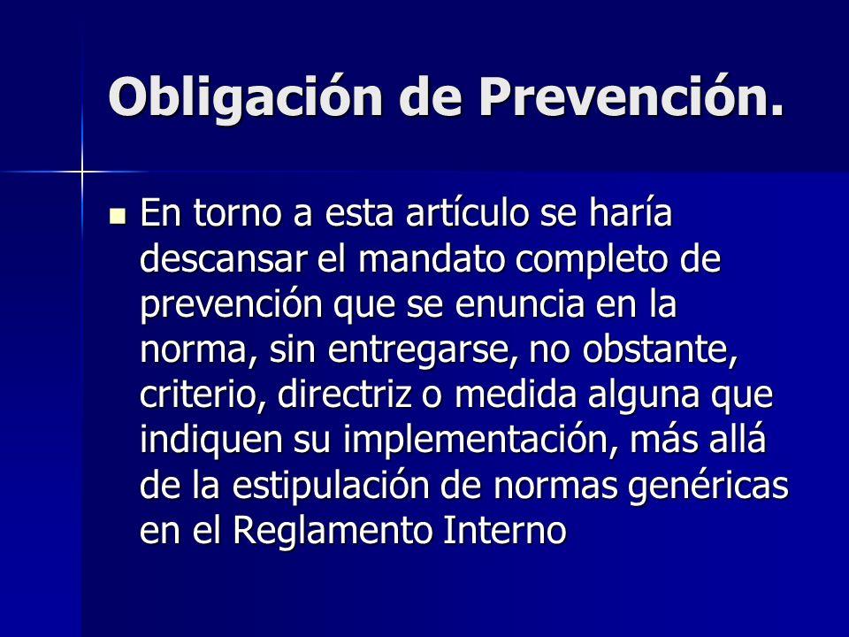 Obligación de Prevención. En torno a esta artículo se haría descansar el mandato completo de prevención que se enuncia en la norma, sin entregarse, no