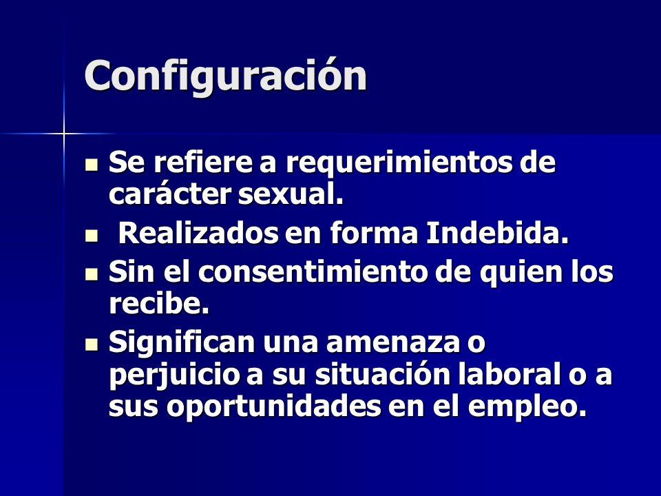 Configuración Se refiere a requerimientos de carácter sexual. Se refiere a requerimientos de carácter sexual. Realizados en forma Indebida. Realizados