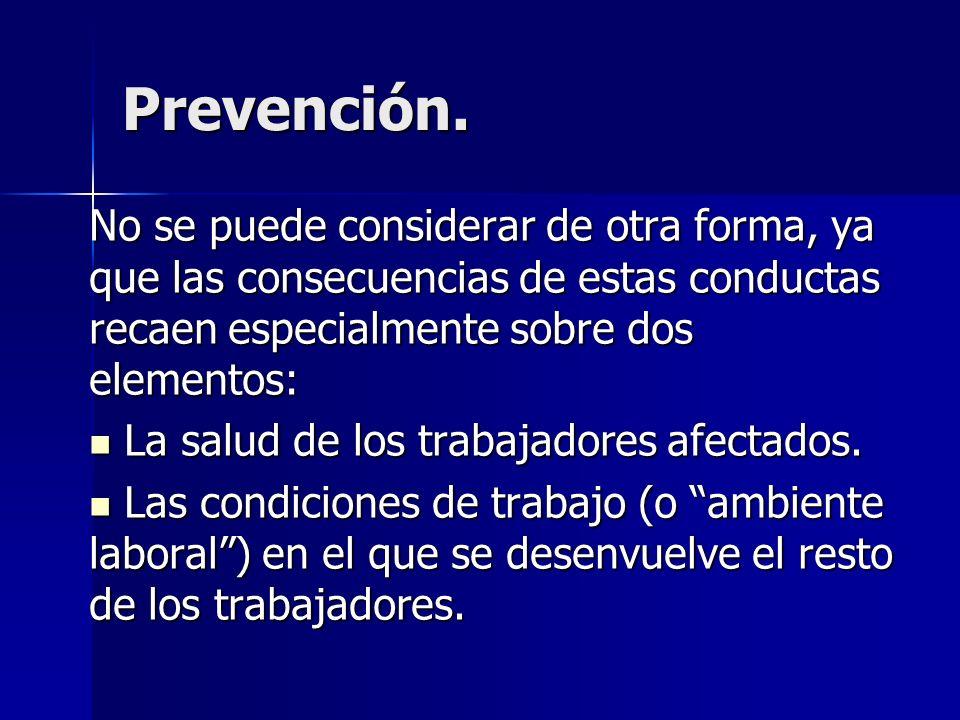 Prevención. No se puede considerar de otra forma, ya que las consecuencias de estas conductas recaen especialmente sobre dos elementos: La salud de lo