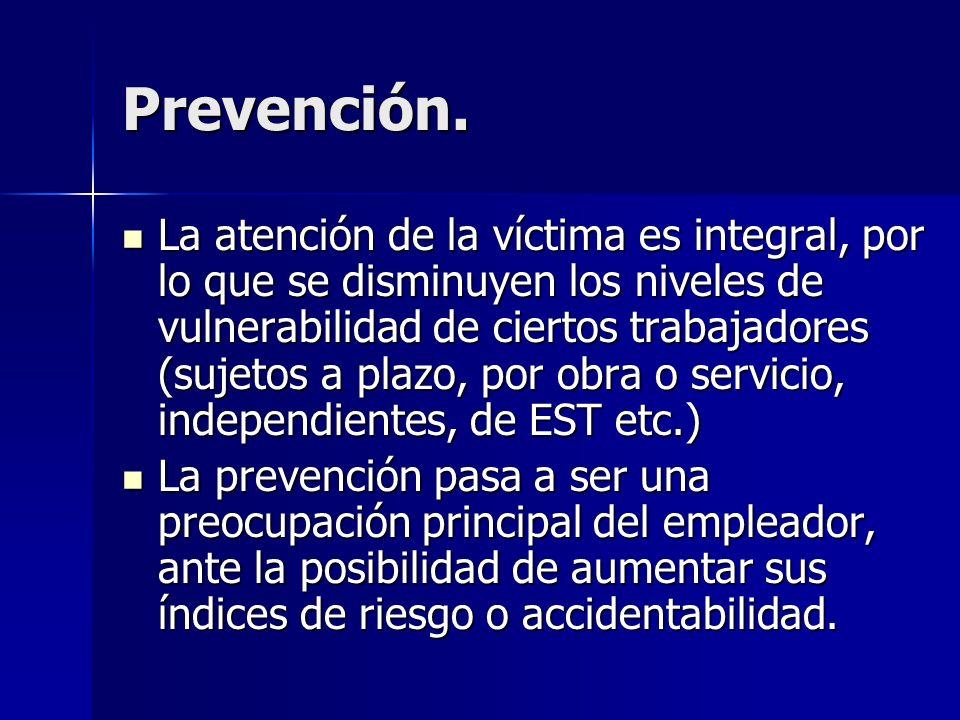 Prevención. La atención de la víctima es integral, por lo que se disminuyen los niveles de vulnerabilidad de ciertos trabajadores (sujetos a plazo, po