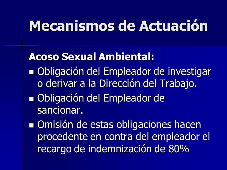 Mecanismos de Actuación Acoso Sexual Ambiental: Obligación del Empleador de investigar o derivar a la Dirección del Trabajo. Obligación del Empleador