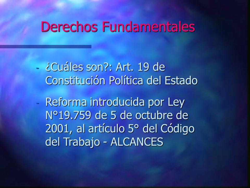 Derechos Fundamentales - Art.5°, inciso primero, del C.