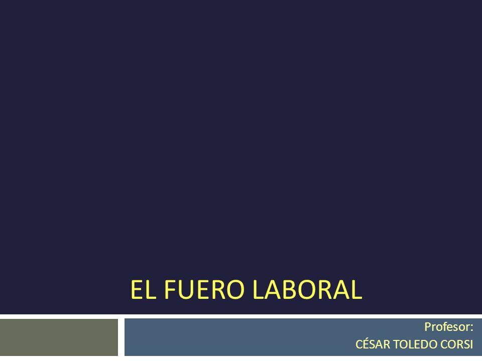 EL FUERO LABORAL Profesor: CÉSAR TOLEDO CORSI