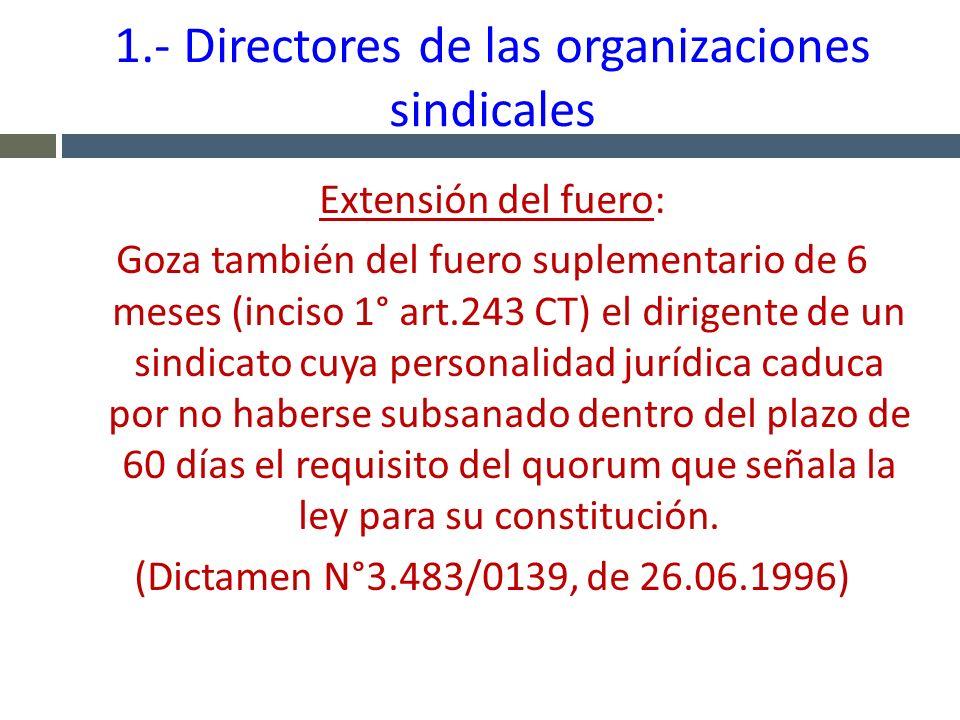 1.- Directores de las organizaciones sindicales Extensión del fuero: Goza también del fuero suplementario de 6 meses (inciso 1° art.243 CT) el dirigen