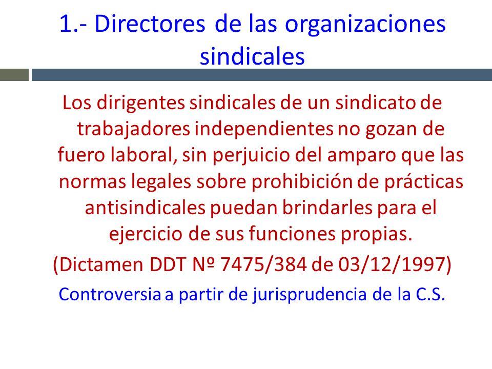 1.- Directores de las organizaciones sindicales Los dirigentes sindicales de un sindicato de trabajadores independientes no gozan de fuero laboral, si