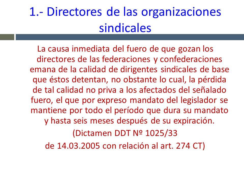 1.- Directores de las organizaciones sindicales La causa inmediata del fuero de que gozan los directores de las federaciones y confederaciones emana d