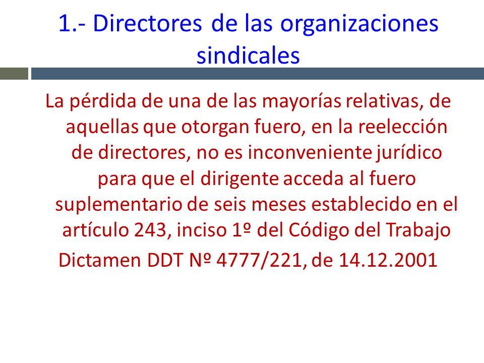 1.- Directores de las organizaciones sindicales La pérdida de una de las mayorías relativas, de aquellas que otorgan fuero, en la reelección de direct