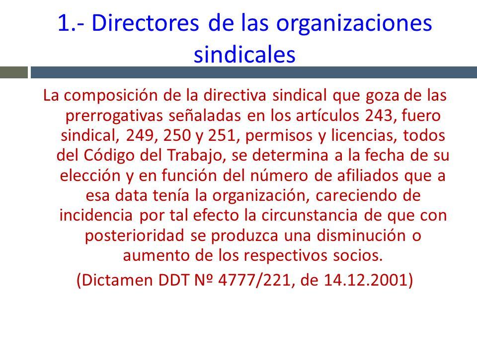 1.- Directores de las organizaciones sindicales La composición de la directiva sindical que goza de las prerrogativas señaladas en los artículos 243,