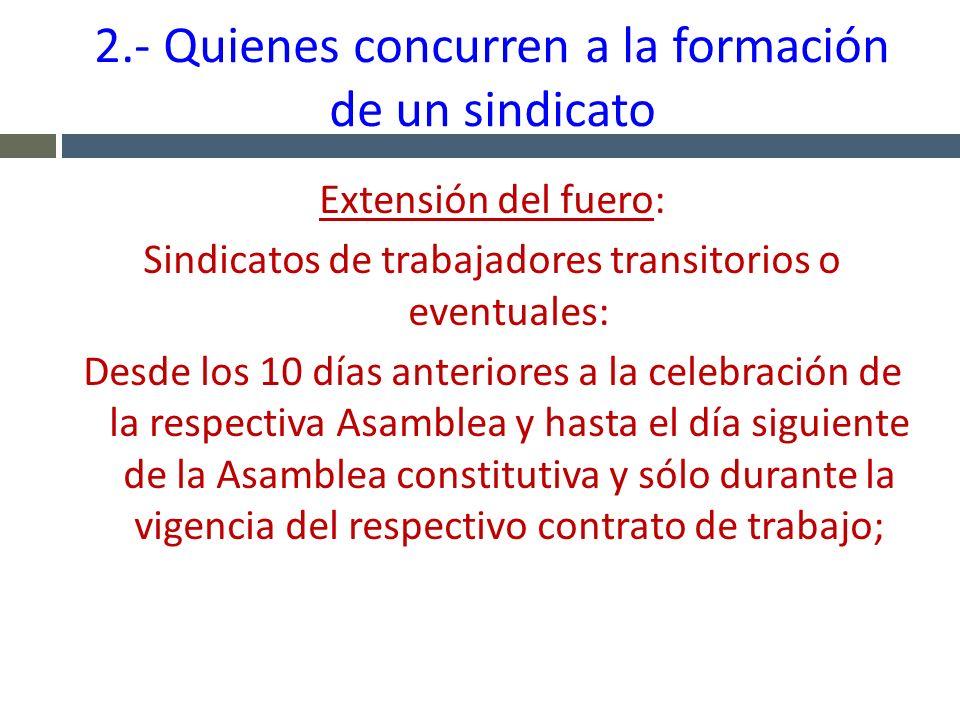 2.- Quienes concurren a la formación de un sindicato Extensión del fuero: Sindicatos de trabajadores transitorios o eventuales: Desde los 10 días ante