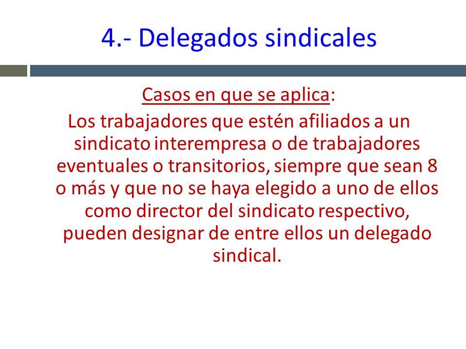4.- Delegados sindicales Casos en que se aplica: Los trabajadores que estén afiliados a un sindicato interempresa o de trabajadores eventuales o trans