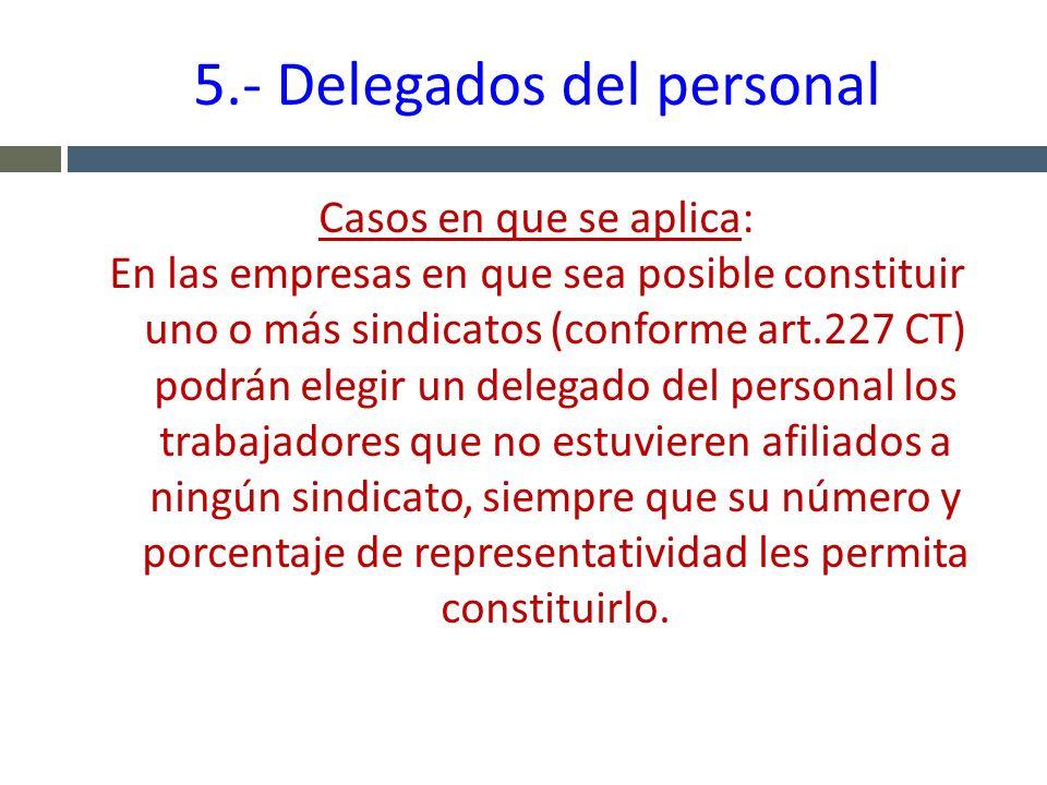 5.- Delegados del personal Casos en que se aplica: En las empresas en que sea posible constituir uno o más sindicatos (conforme art.227 CT) podrán ele
