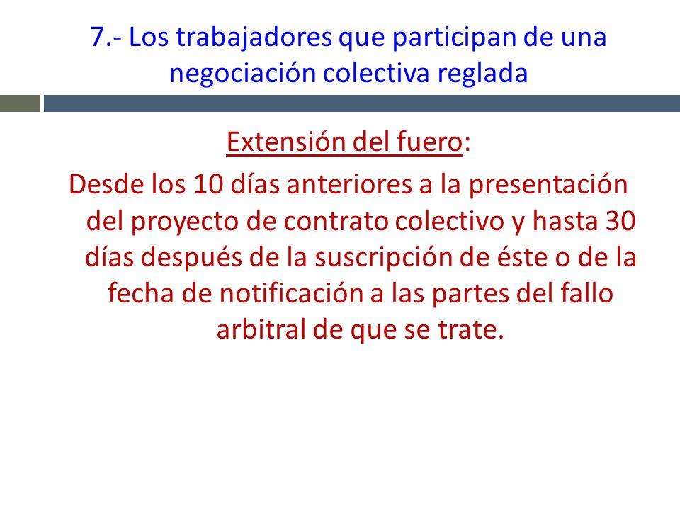 7.- Los trabajadores que participan de una negociación colectiva reglada Extensión del fuero: Desde los 10 días anteriores a la presentación del proye