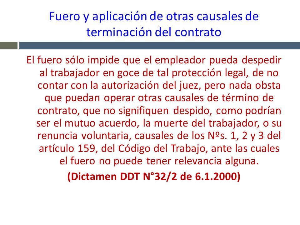 Fuero y aplicación de otras causales de terminación del contrato El fuero sólo impide que el empleador pueda despedir al trabajador en goce de tal pro