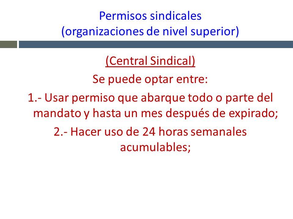 Permisos sindicales (organizaciones de nivel superior) (Central Sindical) Se puede optar entre: 1.- Usar permiso que abarque todo o parte del mandato