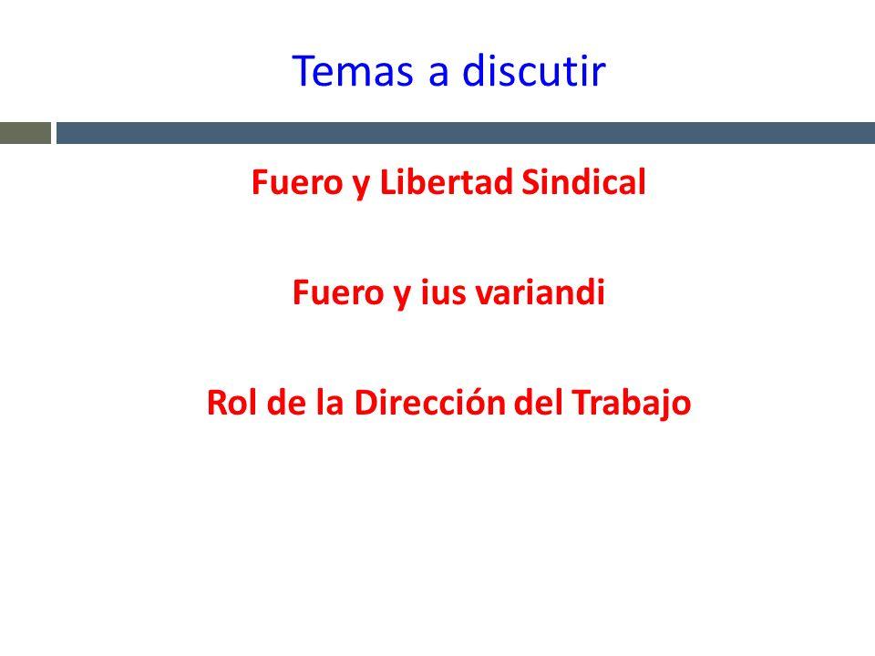 Temas a discutir Fuero y Libertad Sindical Fuero y ius variandi Rol de la Dirección del Trabajo