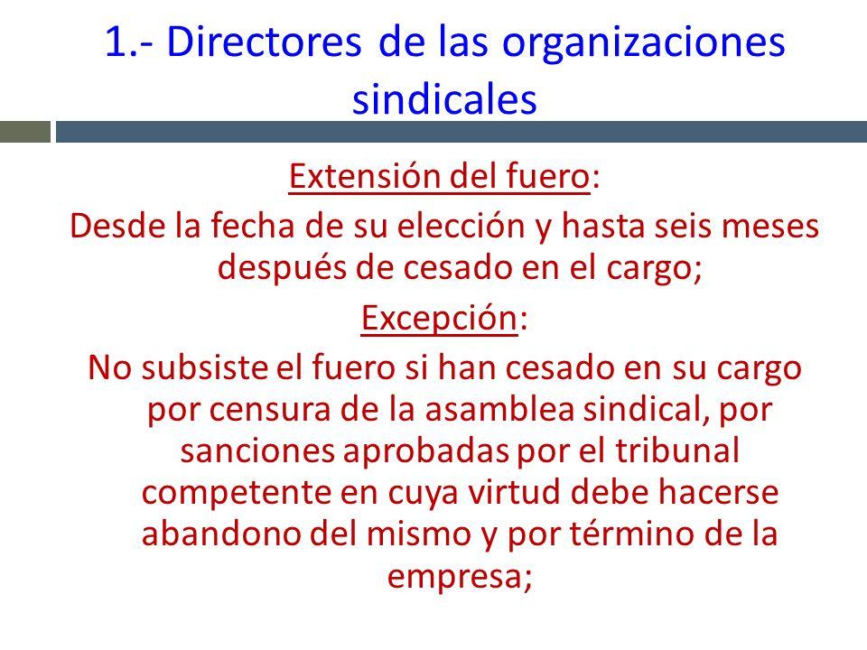 1.- Directores de las organizaciones sindicales Extensión del fuero: Desde la fecha de su elección y hasta seis meses después de cesado en el cargo; E
