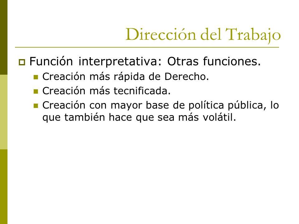 Dirección del Trabajo Función interpretativa: Otras funciones. Creación más rápida de Derecho. Creación más tecnificada. Creación con mayor base de po
