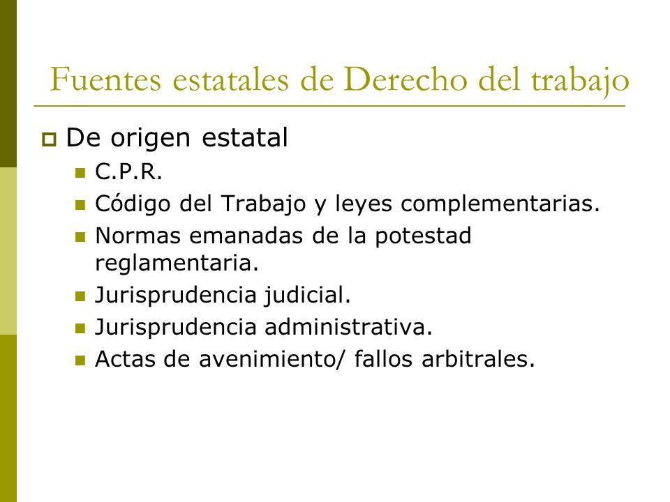 Fuentes estatales de Derecho del trabajo De origen estatal C.P.R. Código del Trabajo y leyes complementarias. Normas emanadas de la potestad reglament