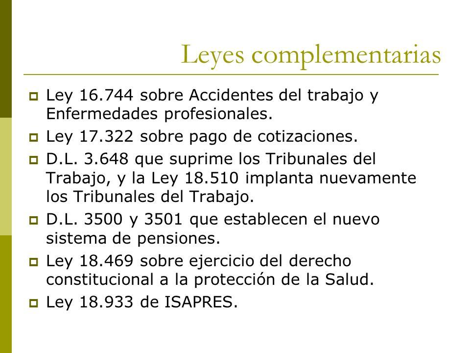 Leyes complementarias Ley 16.744 sobre Accidentes del trabajo y Enfermedades profesionales. Ley 17.322 sobre pago de cotizaciones. D.L. 3.648 que supr