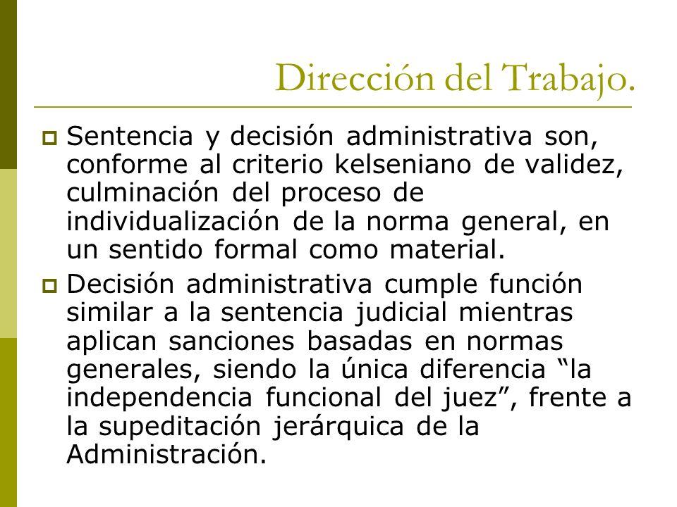 Dirección del Trabajo. Sentencia y decisión administrativa son, conforme al criterio kelseniano de validez, culminación del proceso de individualizaci