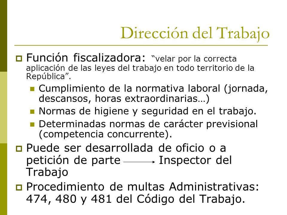 Dirección del Trabajo Función fiscalizadora: velar por la correcta aplicación de las leyes del trabajo en todo territorio de la República. Cumplimient