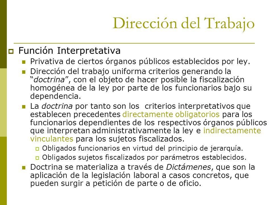 Dirección del Trabajo Función Interpretativa Privativa de ciertos órganos públicos establecidos por ley. Dirección del trabajo uniforma criterios gene