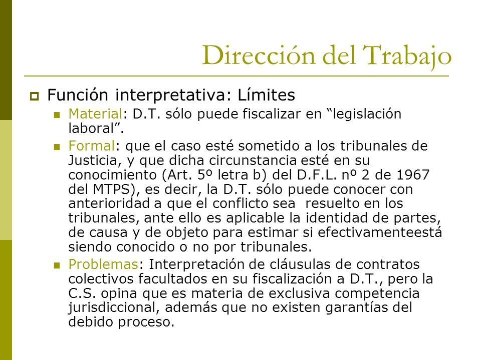 Dirección del Trabajo Función interpretativa: Límites Material: D.T. sólo puede fiscalizar en legislación laboral. Formal: que el caso esté sometido a